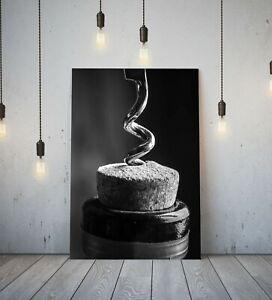 KITCHEN ART-BOTTLE CORK SCREW-DEEP FRAMED CANVAS WALL ART  PRINT-BLACK AND WHITE