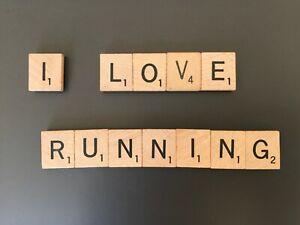 """Scrabble Tile Magnets """"I LOVE RUNNING"""" Handmade"""