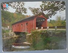 Milton Bradley York Jigsaw Puzzle Covered Bridge Arlington VT 1500 Pieces #18