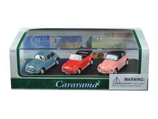 VOLKSWAGEN BEETLE 3pc SET IN DISPLAY CASE 1/72 DIECAST CAR MODELS CARARAMA 71309