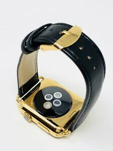 24K Gold 42MM Apple Watch SERIES 3 with Black Leather Band