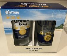 Pint Glass Set of 2 Cups 16 Oz Corona Extra Beer. New in box.