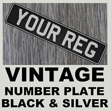 Old Style Black & Silver 1 x Car Metal Aluminium Number Plate Pressed Embossed