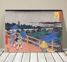 "Beautiful Japanese Landscape Art ~ CANVAS PRINT 8x12"" ~ Hiroshige Bridge In Edo"