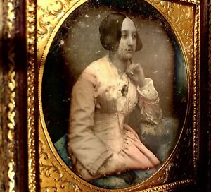 1/6 Daguerreotype Beautiful Woman Tinted Dress Gold Jewelry Photographic Brooch