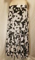 New INC Women's Plus Size 0X Elastic Black & White Floral Print Maxi Long Skirt