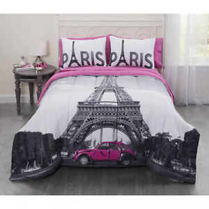 Casa Photo Real Paris Eiffel Tower 5-PCS Bed in a Bag Comforter Bedding Set