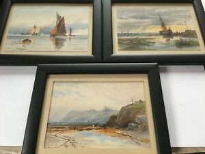 3 x David Gould Green 1854 - 1918 - Watercolours Gravesend,Whitby & Leigh Essex