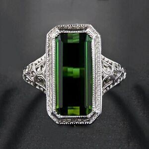 Elegant  925 Silver Filled Wedding Rings for Women Emerald Cut Sapphire Ring Sz7