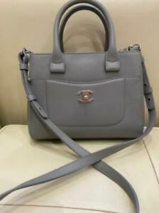 Auth CHANEL  Gray  bag Leather Small