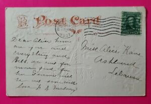 BENJAMIN FRANKLIN 1 Cent Stamp on *RARE* Postcard 1907 Post Marked 114 YEARS OLD