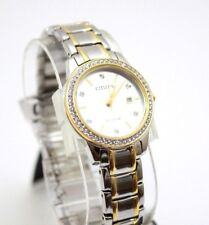 Citizen Eco-Drive Silhouette Crystal Two Tone Women's Watch 29mm FE1140 $295