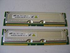 2 Barrettes mémoire RAM RDRAM 800 Mhz 128Mo Samsung MR16R0828BN1-CK8IN RAMBUS