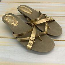 BCBGirls Sanals 10B Gold Leather Strappy Low Wooden Heel Slip-On Summer B135