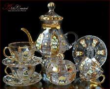 "Bohemian Crystal Tea Set 300ml/1250ml, ""Shaherezada"" Gold 14 pc New!"