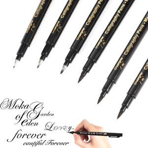 6PC Calligraphy Pens Black Brush Marker Pen Refill Writing Signature Art Drawing