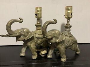 Vtg Antique Pair Art Deco Cast Iron Elephant Lamps Rare Old Figural Desk Dresser