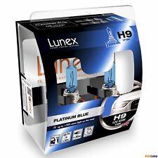 2x H9 PLATINUM BLUE Lunex 4700K 12V Azul Bombillas Halógenas Faros Hard Case