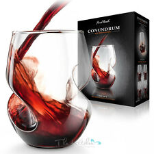 Set of 4 Conundrum Red Wine Aerating Glasses Unique Stemless Glass Bar Gift
