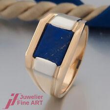 Herren Ring - mit Lapislazuli (Lapis Lazuli) - 18K/750 Gelbgold & Weißgold