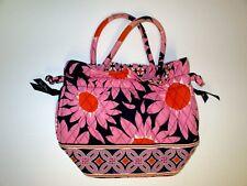 "Vera Bradley Orange Navy Pink ""Loves Me"" Emma Hand Bag Flower Print Purse"