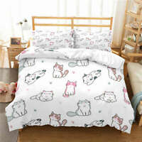 Black Spotted Cat 3D Quilt Duvet Doona Cover Set Single Double Queen King Print
