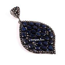 Antique 925 Sterling Silver Pave Diamond Blue Sapphire Victorian Pendant 698
