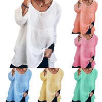 Women Plus Size Long Sleeve T Shirt Plain Tops Oversized Blouse Pullovers Tunic