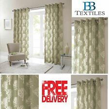 Woodland Forest Trees Fully Lined Eyelet Ready Made Curtains Green