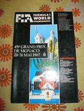 Ancien PROGRAMME 45e GRAND-PRIX AUTOMOBILE DE MONACO F1 1987 ACM Monte Carlo 87
