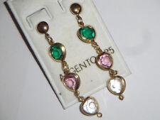 Orecchini Argento 925 placc oro pendenti cristalli verde smeraldo rosa e traspar