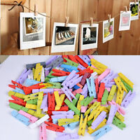 50X Mini Wood Clothespins Laundry Photo Paper Peg Clip Clothes Pins Art Craft Sn