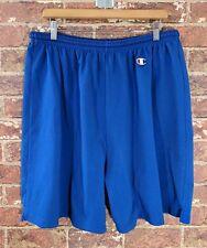 Vtg Champion Xxl 2Xl Blue Patch Logo Elastic Waist Shorts Exercise
