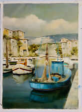 """Boats in Harbor II""  Oil on Canvas  Artist: Spartaco Lombardo"
