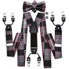 USA Suspenders Bow Tie Mens Y Braces Black Red Plaid 6 Clips Heavy Duty Elastic