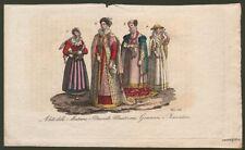 COSTUMI ITALIANI Lombardia, Liguria, Toscana. Dall'opera di Ferrario, circa 1830