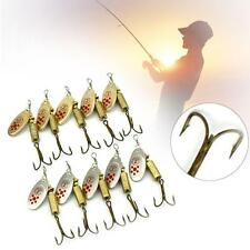 10x Fishing Lure Suit Crankbait Sequin Spoon Metal Bait Fish Hunting Hook 4# UP