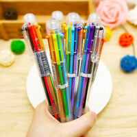 6 in 1 Novelty Colorful Ballpoint Pen Novel Office School Student Teacher Supply
