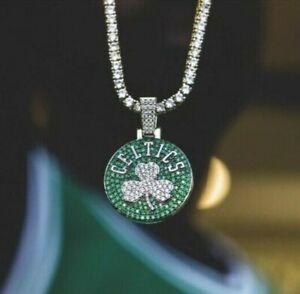 "10Ct Mens Emerlad 3MM Round 18"" Chain Boston Celtics Pendant 14k White Gold Over"