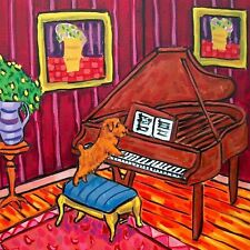 Norfolk terrier playing piano picture dog art ceramic Tile abstract folk pop art