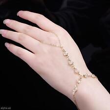 Shining Girl Gold Plated Crystal String Vintage Link Finger Hand Chain Bracelet