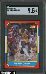 1986-87 Fleer Basketball #17 Michael Cooper Los Angeles Lakers SGC 9.5 MINT+