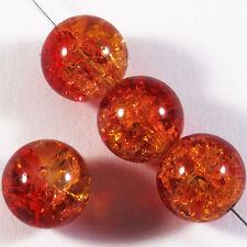 Lot de 20 Perles Craquelées en Verre 12mm Orange