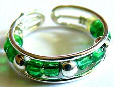 BAGUE DE PIED/ORTEIL METAL ANNEAU TOE RING ANILLO DE PIE STRASS perles vert