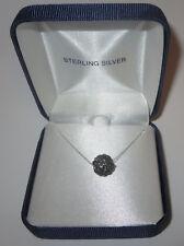 """Rhinestone Fireball Necklace Black Sterling Silver 17"""" New in Box Delicate Chain"""
