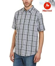 Marmot Men's Medium Newport Short Sleeve shirt in Cinder Gray plaid, NWT