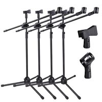 4pcs Rotating Live Stream Microphone Stand Dual Mic Clip Boom Arm Foldable