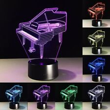 Piano Pattern 3D illusion Touch Table Lamp LED Night Light 7 Colors Change