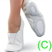 GYMNASTIC SHOES WHITE LEATHER TRAMPOLINING pumps TRAINING DANCE CUSHIONED (CC)
