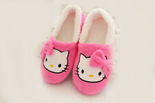 ~ Women Plush Hello Kitty Indoor Pink Slippers Adult Size  7/8~